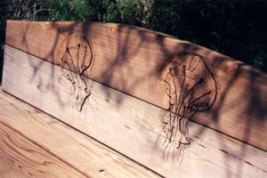 Bench with Jellyfish carving