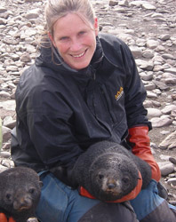 Birgitte McDonald with Antarctic Fur Seals